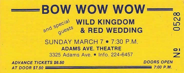 1982 Bow Wow Wow - Wild Kingdom - Red Wedding Ticket
